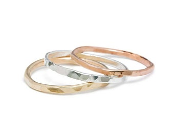 Hammered Stacking Ring - Sterling Silver, Rose Goldfill, Yellow Goldfill Options - One (1) Ring