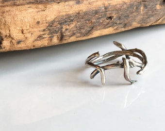 Crown of Thorn Rings, Fine Silver Twig Ring, Size 8, .99 Silver, Kiln Fired, Artisan Ring, Silver Band Ring, Branch Ring