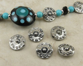 5 Round Pinched Disk Beads / Tribal Primitive Bali Style Beaded Ornate Flat Raw American Made Lead Free Silver Pewter I ship internationally
