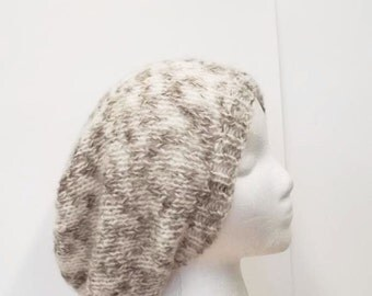 Slouchy beanie hat hand knitted  5196