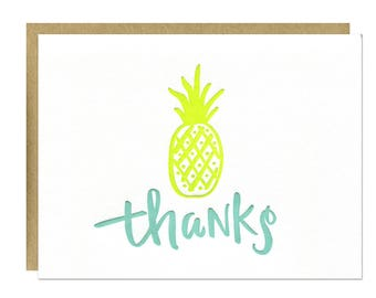 Thanks Pineapple Letterpress Card
