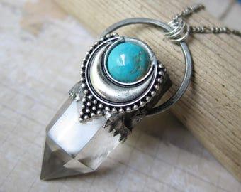 Moonspirit - Turquoise and Quartz Talisman pendant