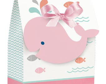 Lil' Spout Whale Girl Favor Bags with Ribbon-Set of 12-NEW