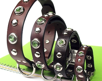 Chocolate Brown Leather Dog Collar with Mint Green Gems, Silver Dots and Quick Release Buckle // Eco-Friendly Recycled Belt Collar // OOAK