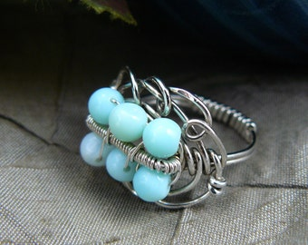 Amazonite Bead Ring ~ Sterling Silver Bead Ring ~ Wire Wrapped Bead Ring ~ Aqua Blue Bead Ring ~ Robin Egg Bead Ring ~ Robin Egg ~