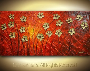 ORIGINAL Large Abstract Contemporary Fine Art Modern Gold Flowers on Red- Palette Knife Impasto Painting by Susanna 48x24