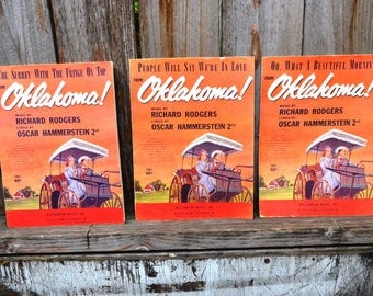 Three Pieces of Vintage Sheet Music (1948) from the musical Oklahoma!