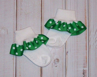 St Patricks Day socks - Green with White Polka Dots Ruffle Ribbon Socks ANY SIZE