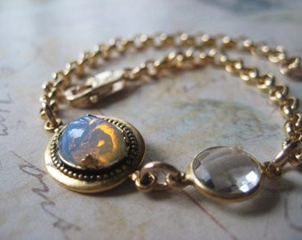 Gold Opal Bracelet, 14k Gold Fill, Faceted Crystal, Crystal Charm, Rolo Chain, 14k GF Charm, candies64