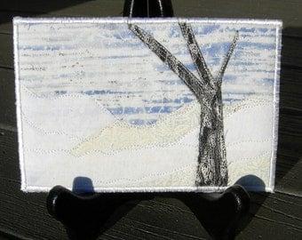 Handmade Fabric Postcard, Quilted Greeting Card, Postcard Art,Landscape Art, Outdoor Landscape, Nature Art,Quilt Postcard, Moon, Winter Snow