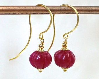 Luxe Carved Ruby Bead Earrings, 22kg Vermeil, Gorgeous Fine Gemstones...