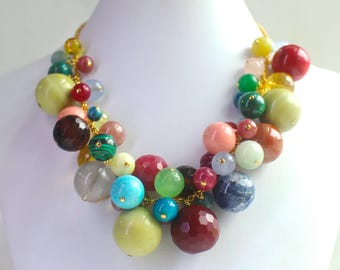 Candy Gumball Multi Gemstone Round Polished Bauble Bracele in Gold Fill...