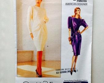 Vintage 80s Oscar de la Renta Vogue Paris Original Pattern Dress V Front Uncut Size 6 8 10 Vogue 2335 30.5 31.5 32.5 Bust