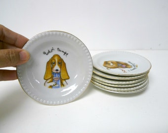 card playing dogs coasters / trinket dishes . assorted designs . set of 7 . made in Japan