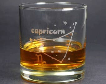 Capricorn Zodiac Constellation lowball glass