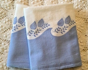 HOLIDAY SALE - Floursack Pillowcases - Blue All Cotton - Standard Queen or King