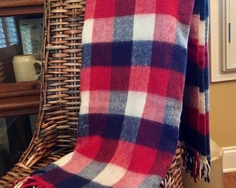 HOLIDAY SALE - Vintage Red Plaid Throw - Camp Stadium Blanket with Fringe Red White Blue Acrylic Throw - Plaid Afghan
