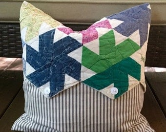 BIG SALE - Vintage Quilt & Blue Ticking Pillow Cover Patchwork Pillow Cover - Multi Country Quilt Pillow Cover - Farmhouse 18""