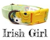 """Vintage Inspired Collar - Floral Roses Dog Collar - Girl Dog Collar - Shabby Chic Dog Collar - Antique Brass Hardware - """"Irish Girl"""""""