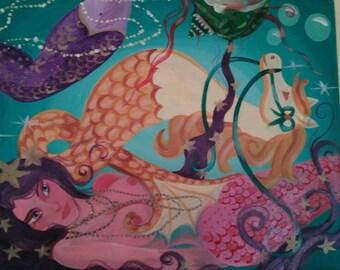 Gold, starfish, purple hair, Mermaid, tryptic, acrylic, painting, fine art, nautical, surrealism, ocean, 1 of 3, Dame Darcy