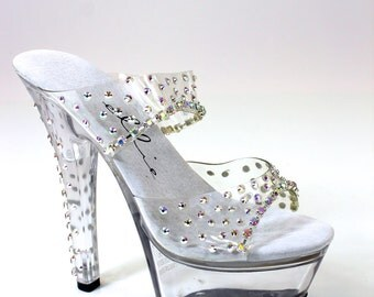 "Coco Crystal AB Rhinestone Sandal 6"" Heel / Bikini Figure Competition Shoes"