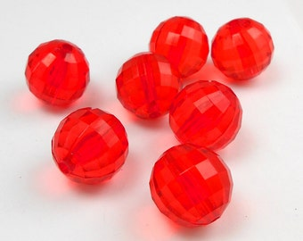 10 Red GUMBALL Beads 20mm Bubblegum Chunky Beads Resin Round Faceted Translucent  (H2306)