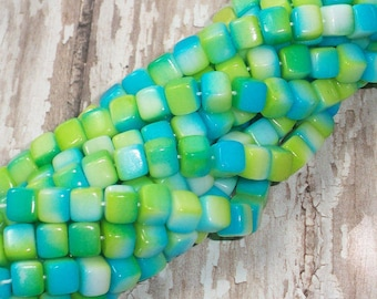 Set of 25 Blue, Green Czech Glass Cube Beads 6MM tropical square (H6036)