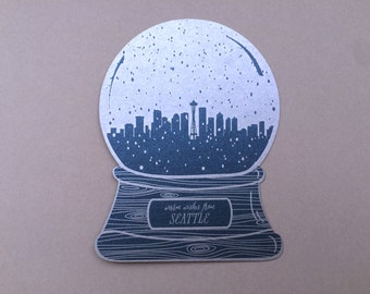 Seattle snow globe, warm wishes