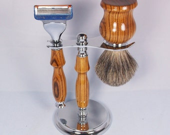 Handcrafted Shaving Set designed for Fusion/M3/Safety Razor with Stand using Zebrawood