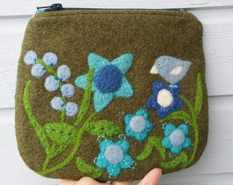 Zippered purse pouch moss green wool fabric needle felted flowers birdie bird