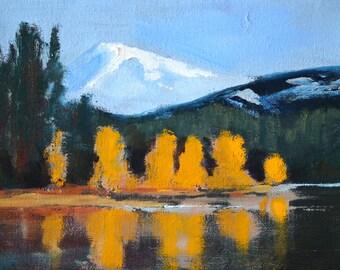 Mountain Landscape Painting, Small 6x8 Original, Oil Painting, Lake Reflection, Golden Trees, Green Hills, Snowy Peak, Northwest, Oregon