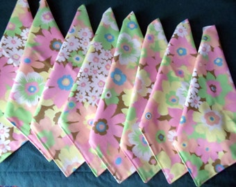 eco friendly napkins, vintage linens, set of 8, pastel florals, bright peacock , 12 inches square, ONE DOLLAR each, reversible, handmade