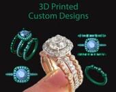 Custom 14kt White gold Skeleton Ring with 4.4mm Black Diamond