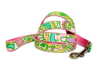 "Dog Leash: Lilly Pulitzer Chin Chin Fabric 60"" or 72"""