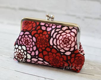 Small Clutch Clasp Cosmetic Purse Modern Japanese Floral Kimono Pattern Red Frame Bag Cosmetic Bag Gadget Bag M Pouch