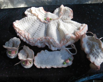 Hand Crocheted White  Ruffled Baby Dress, Bonnet, Bib and Booties 0 to 3 Months