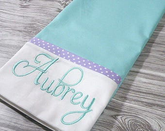 Aqua and Purple Personalized Pillowcase