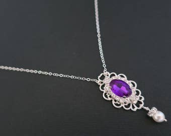 Vintage inspired Purple Crystal Necklace Old Hollywood Victorian Downton Abbey Sterling Wedding Bridal Bridesmaid Necklace Plum Violet Vivid
