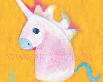 Yellow Unicorn Art. Illustration.  Yellow Nursery. Kids Art Print. Rainbow. Baby Shower Gift.  Baby Unicorn. - Golden Sunshine Rainbow Baby