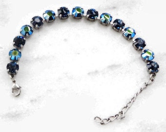 Swarovski crystal tennis style bracelet 8mm fancy stones ,montana and montanaAB, in antique silver setting lovely jewelry