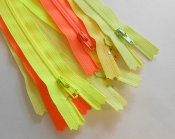 Neon Zipper Lot, Yellow Zippers, Orange Zippers, 16 Inch Zipper, Neon Yellow, Neon Orange