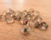Vintage West German Sparkling 1940s-50s Clear Rough Cut Rondelles with Vitrail Halfcoat - 6mmx5mm - Lot of 20