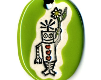 Robot With Flower Ceramic Pendant Necklace in Green