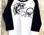 Skull Balloons (8 to 9 yrs) stars  on black and white baseball sleeve Loverocky long sleeve top rocky the zombie and