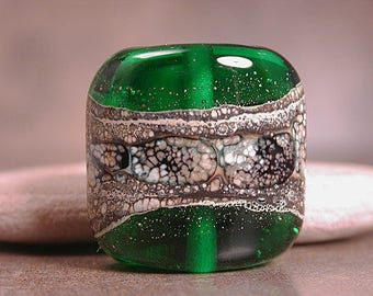 Artisan Glass Focal Bead Square Nugget Transparent Green with Silvered Ivory Divine Spark Designs SRA