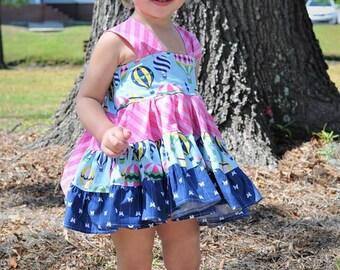 Baby Hot Air Balloon Top - Baby Top -  Twirl Dress- Tunic Twirl - Toddler Summer Dress - Baby Summer Top - Balloon Top - Toddler Party Dress