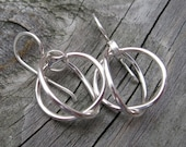20% OFF Today Double circle sterling silver dangle earrings