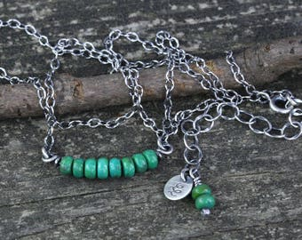 Green Mojave turquoise sterling silver beaded minimalist necklace