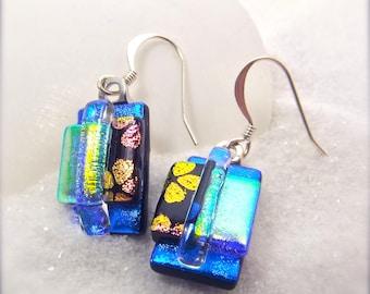 Trendy earrings, blue fused dichroic glass earrings, hana sakura designs, dichroic beads, springtime earrings, handcrafted earrings,dichroic