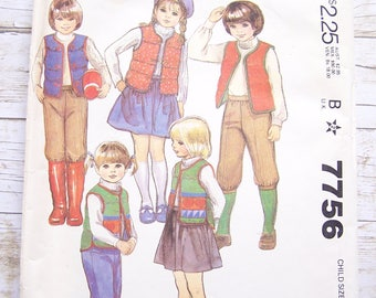 Mccalls 7756 unisex pattern for pants skirt and vest size 5